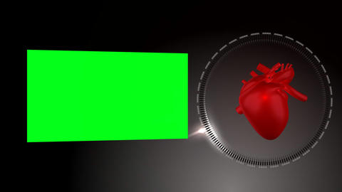 Heart beating and rotating as a green screen appears next to it Animation