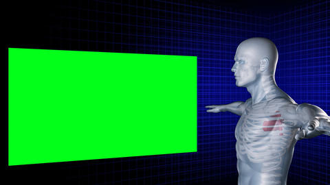 Digital man rotates with his arms outstretched whi Stock Video Footage