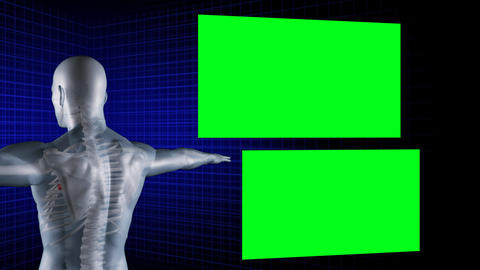 Digital Man Rotates With His Arms Outstretched Whi stock footage