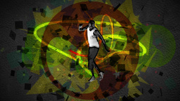 Man dancing in front of a green and red effect Stock Video Footage