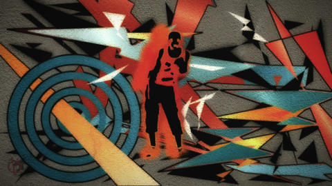 A man dances with graffiti spraying onto the wall behind him Animation
