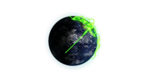 Green connections on the Earth zooming in with mov Animation