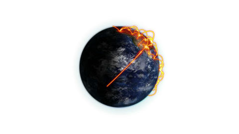 Orange connections on a lighted Earth zooming in with moving clouds and shadow with Earth image cour Animation