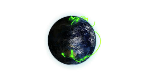 Green connections on the Earth zooming out with mo Stock Video Footage