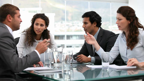 Hand choosing clips about business meeting Animation