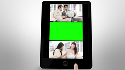 Animated tablet computer showing companies meeting Stock Video Footage
