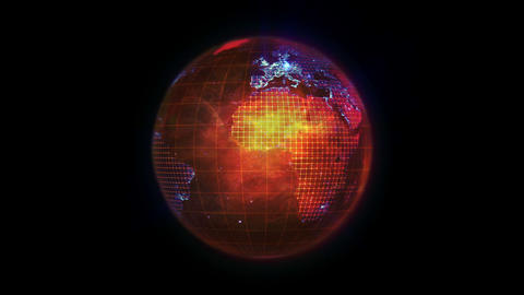 Orange Earth turning on itself with blue network o Stock Video Footage