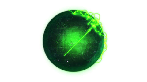 Animated green planet globe spinning on itself Animation