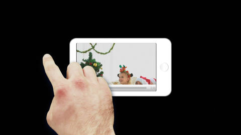 Smartphone showing families celebrating Christmas Animation