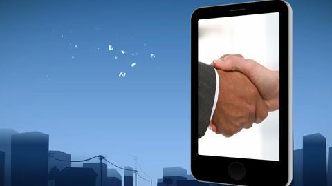 Smartphone showing a handshake Animation