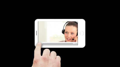 Smartphone showing businesswomen Animation
