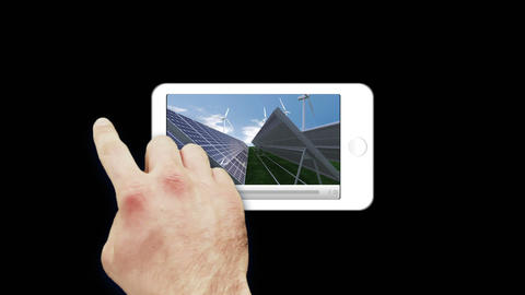 Smartphone showing renewable energies Animation