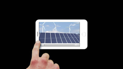 Smartphone showing windmills Stock Video Footage