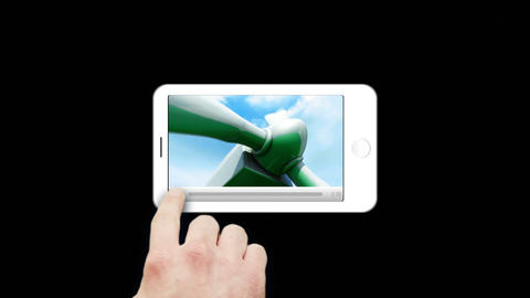 Smartphone showing windmills Animation