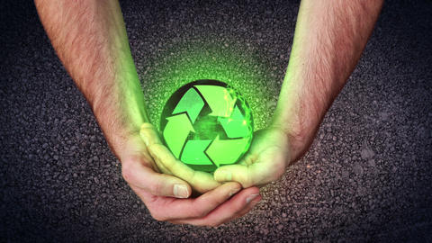 Hands holding a recycling symbol animating videos Stock Video Footage