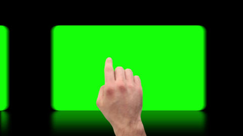 Hand activating copy spaces on touch screen Stock Video Footage
