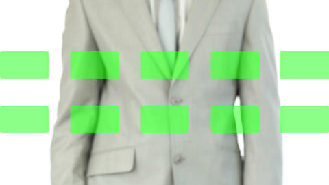 Businessman activating copy spaces on touch screen Stock Video Footage