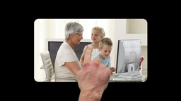 Hand scrolling vertically and activating family vi Animation