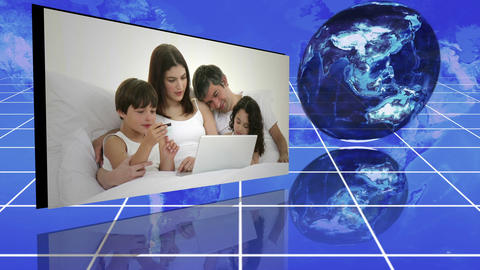 Family videos next to statistics and turning globe Animation