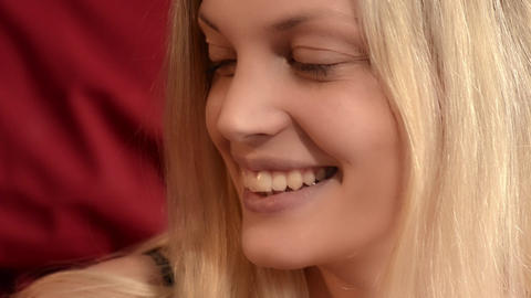 Smiling blonde woman Stock Video Footage