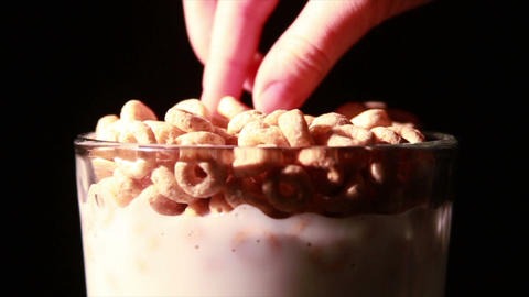 0146 Eating Cereal with Spoon Stock Video Footage