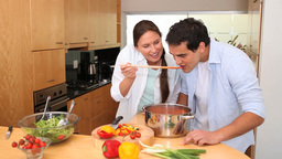Woman asks her boyfriend to taste her sauce Live Action