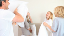 Pillow fight between family members Footage