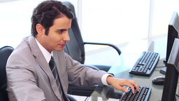 Businessman working on a computer Stock Video Footage