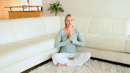 Woman meditating Stock Video Footage