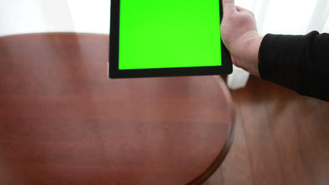 Tablet with Green Screen Stock Video Footage