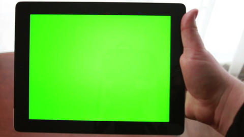 Book or Tablet? Tablet with Green Screen Stock Video Footage