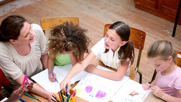 Pupils drawing with coloring pens Stock Video Footage