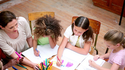 Pupils drawing with coloring pens Footage