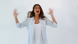Happy woman raising her arms Stock Video Footage