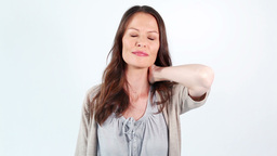 Woman holding her painful neck Footage