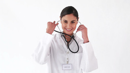 Smiling nurse showing her stethoscope Footage