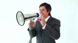 Happy manager using a megaphone Stock Video Footage