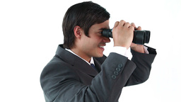 Executive looking through binoculars Footage