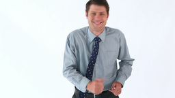 Smiling businessman running Stock Video Footage