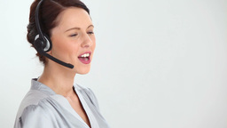 Businesswoman using a headset Footage