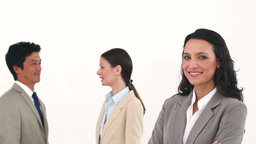 Businesswoman posing with her colleagues talking Footage