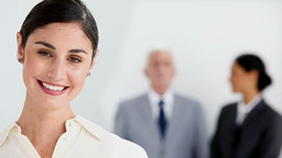 Smiling businesswoman posing Stock Video Footage