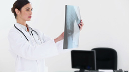 Female doctor examining an xray scan Stock Video Footage