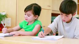 Children doing their homework Footage