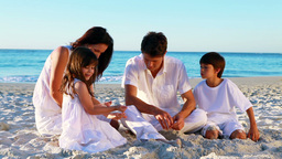 Cheerful family sitting on the sand Footage