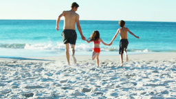 Father and children holding their hands Stock Video Footage