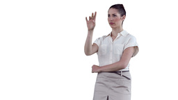 Businesswoman standing while interacting with a vi Footage