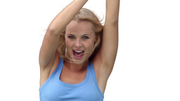 Blonde woman enthusiastically dancing Stock Video Footage