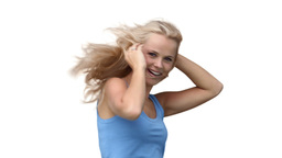 Blonde woman happily dancing Stock Video Footage