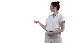 Businesswoman making a presentation on a virtual d Footage